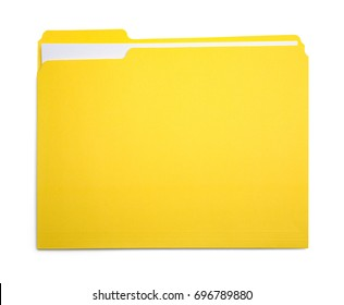 Closed Yellow File Folder Isolated on White Background.