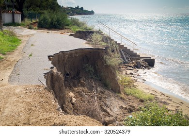 Closed-up cracked asphalt after earthquake