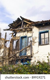 Closed-up of cracked house after earthquake