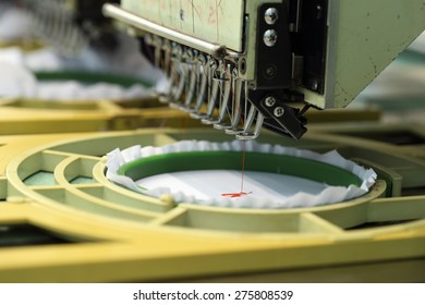 closed-up of Machine embroidery is an embroidery process whereby a sewing machine
