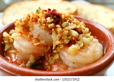 Closed-up of Mouthwatering Spanish Style Garlic Shrimp or Gambas al Ajillo
