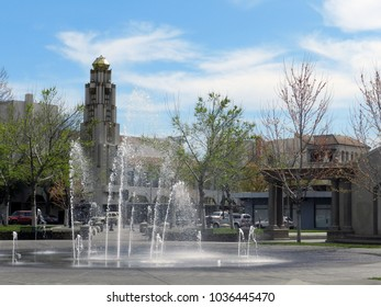 Closer up of fountain in downtown plaza. Chico, California