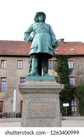closer view on the statue at the sparrenburg in bielefeld germany photographed during a sightseeing tour at a sunny day