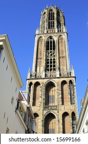 Close-uo picture of the tower of Utrecht gothic cathedral