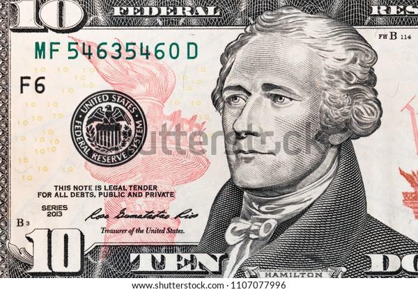 Closeup 10 Dollar Bill Stock Photo (Edit Now) 1107077996
