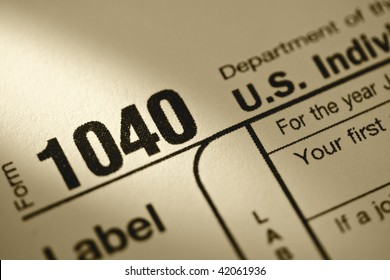 Close-up of 1040 Tax form