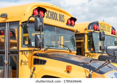 Closeup of 2 yellow school buses parked side by side.