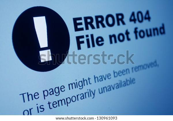 Closeup of 404 Error Sign in Internet Browser on LCD Screen