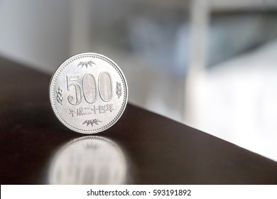 Closeup of 500 yen coin / Japanese coin