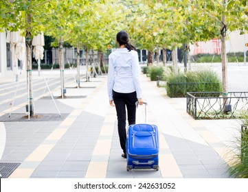 Closeup abstract backside view portrait of woman in light blue shirt carrying luggage, walking through gray sidewalk of green trees background.  Path in life is clear but lonely concept