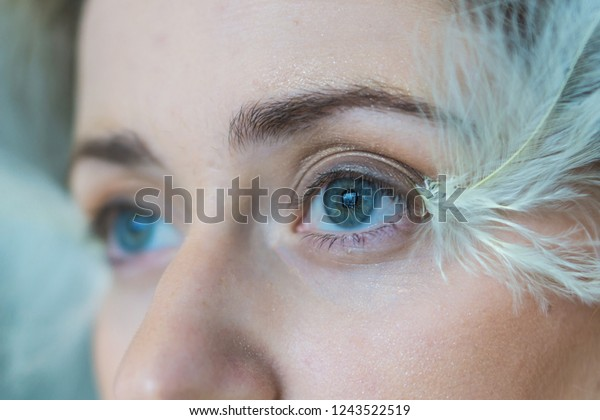 Closeup Abstract Makeup Feathers Blue Eyes Stock Photo Edit