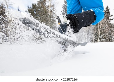 Closeup Action Shot of Snowshoes