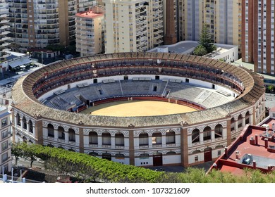 A Closeup Aerial View of the Bull Fighting Ring in Malaga, Spain