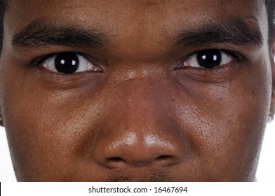 Closeup of African american man's eyes-the look of Mohamed Ali