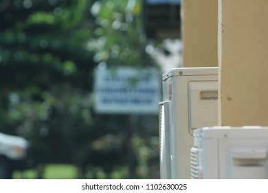 A closeup of the air conditioning unit outside Lae's Polytechnical Institute administration building.