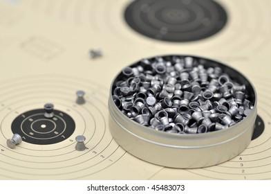 Close-up of air gun pellets.
