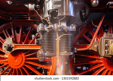 close-up of the air pump of a steam locomotive series 03 of the Deutsche Reichsbahn