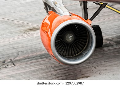 Close-up of an aircraft engine