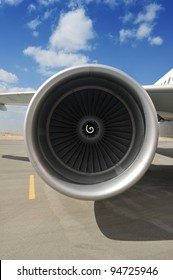 Closeup of Airplane Engine