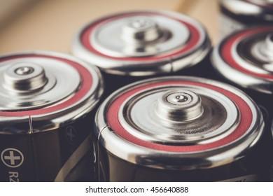 Closeup an alkaline batteries in vintage tone