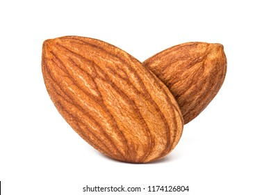 Closeup almond isolated. Nuts on white background. With Clipping Path.