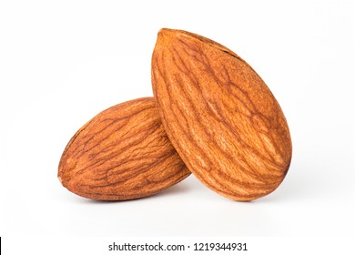 Closeup almond isolated. Nuts on white background.