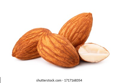 Closeup of almonds, isolated on white background
