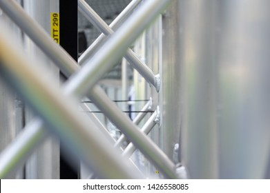 Closeup of aluminium stage truss elements waiting for rigging
