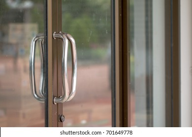 Close-up of Aluminum glass door handle. & Shut Door Images Stock Photos u0026 Vectors | Shutterstock