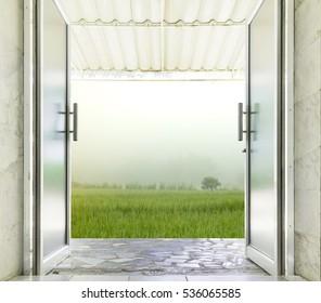 Superieur Close Up Of Aluminum Glass Door Open To Outdoor.