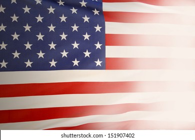 Closeup of American flag fading out. Copy space