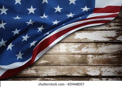 Closeup of American flag on wood