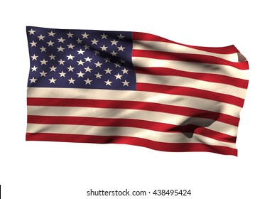 Close-up of American flag over white background