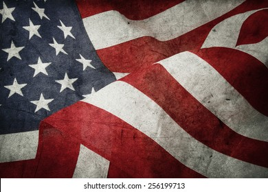 Closeup of American flag and texture composite