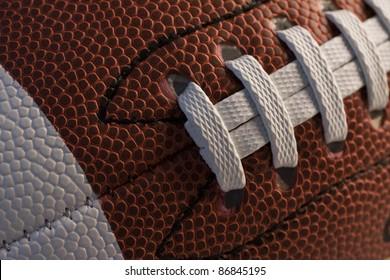 Closeup of American football.