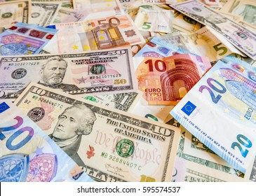 Close Up Of American Us Dollars And Euros