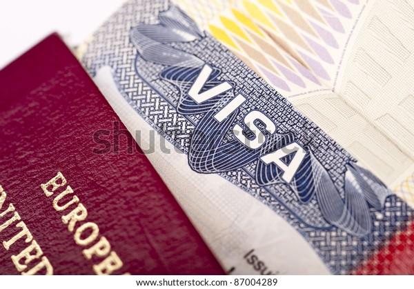 Close-up of american visa with european passport