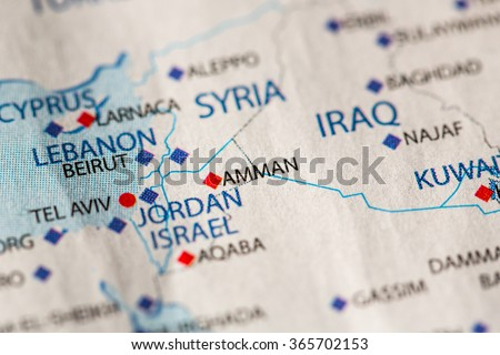 Jordan Political Map.Closeup Amman Jordan On Political Map Stock Photo Edit Now