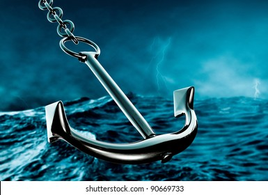 closeup of an anchor in the storm