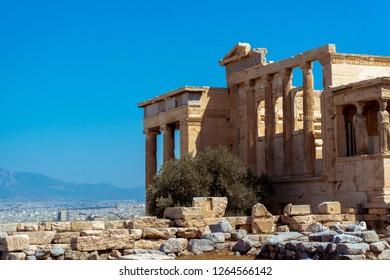 closeup of ancient greek ruins