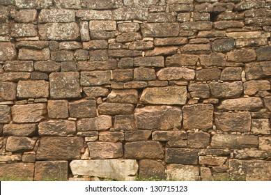 Closeup to an ancient wall at San Ignacio ruins, Misiones, Argentina
