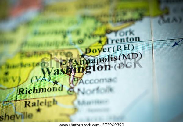Closeup Annapolis Maryland On Political Map Stock Photo ...
