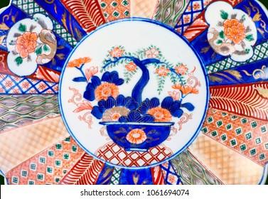 Close-up of antique Japanese Imari porcelain ware made around 1860.