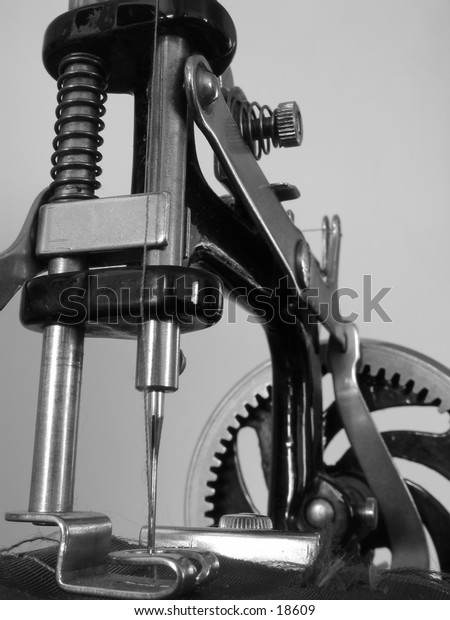 Close-up of an antique sewing machine.