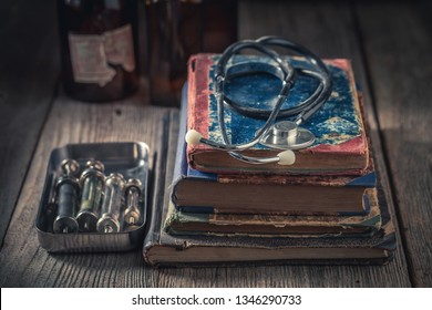 Closeup of antique stethoscope as medical education concept