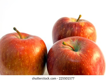 closeup apple fruit with water drop  on white background
