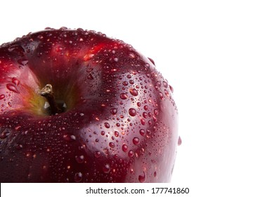 close-up of an apple on white background