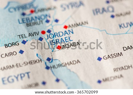 Jordan Political Map.Closeup Aqaba Jordan On Political Map Stock Photo Edit Now