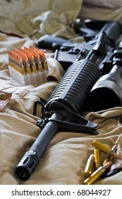 Close-up of AR-15 rifle and ammo