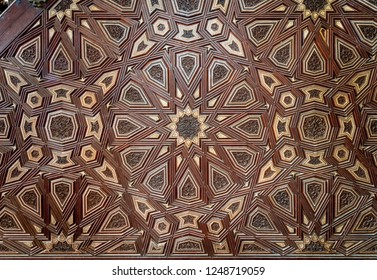 Closeup of arabesque ornaments of old aged decorated minbar of Sultan al Nasir Muhammad ibn Qalawun public mosque, Old Cairo, Egypt
